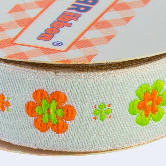 Sticker Ribbon Yeşil Çiçek Baskılı Yapışkan Kurdele - SR-1690-V1