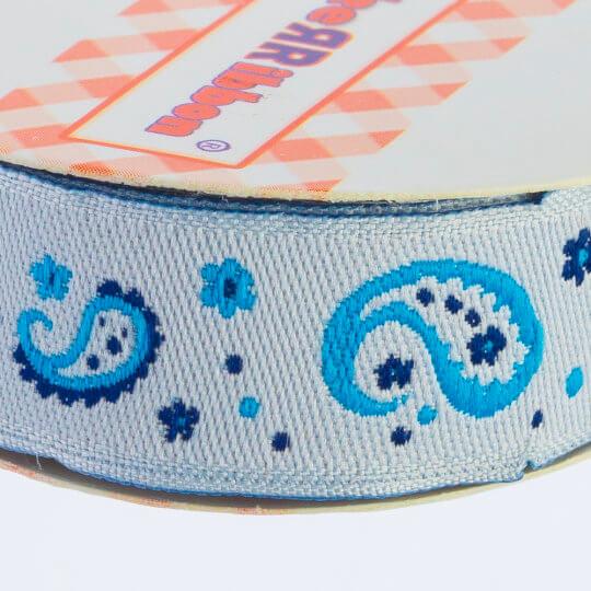 Sticker Ribbon Mavi Motif Baskılı Yapışkan Kurdele - SR-1691-V1