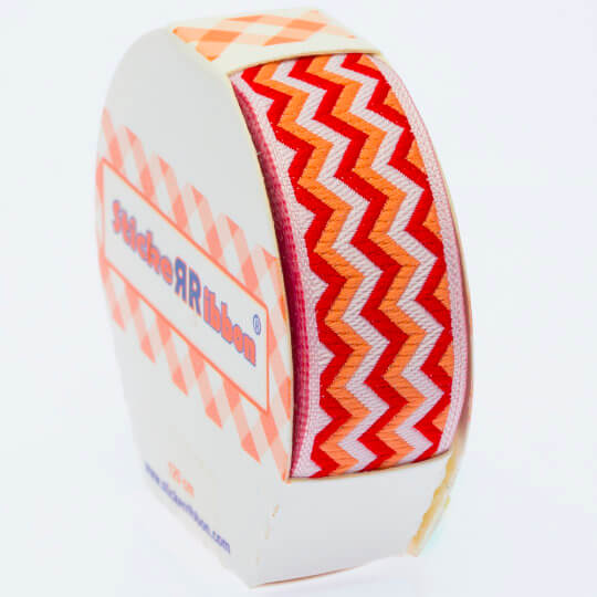 Sticker Ribbon Kırmızı Zigzag Baskılı Yapışkan Kurdele - SR-1689 - V2