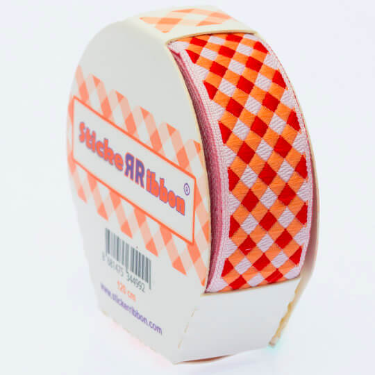 Sticker Ribbon Turuncu Kare Baskılı Yapışkan Kurdele - SR-1692-V2