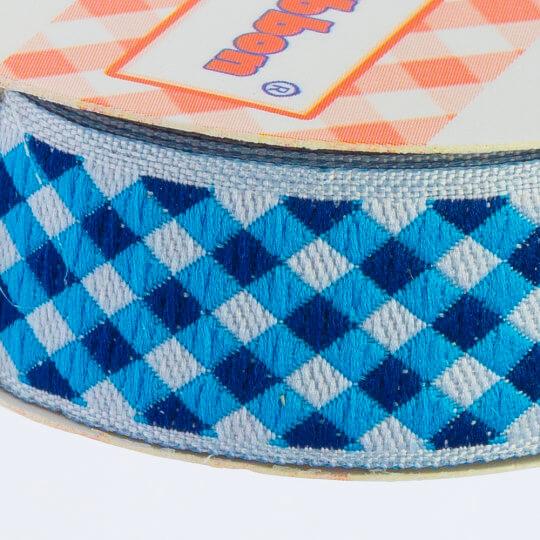 Sticker Ribbon Mavi Kare Baskılı Yapışkan Kurdele - SR1692-V1