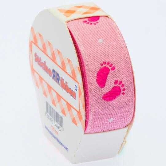 Sticker Ribbon Pembe Bebe Ayak İzi Baskılı Yapışkan Kurdele - SR1685-V1
