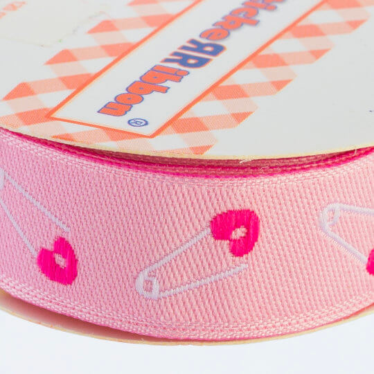 Sticker Ribbon Pembe Beb İğne Baskılı Yapışkan Kurdele - SR-1684-V1
