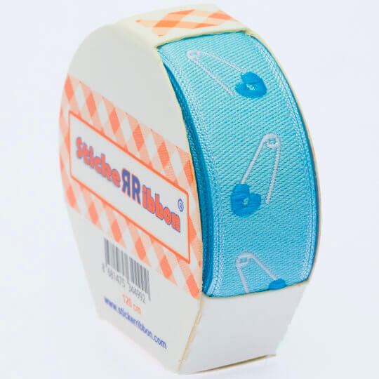Sticker Ribbon Mavi Bebe İğne Baskılı Yapışkan Kurdele - SR1684-V2