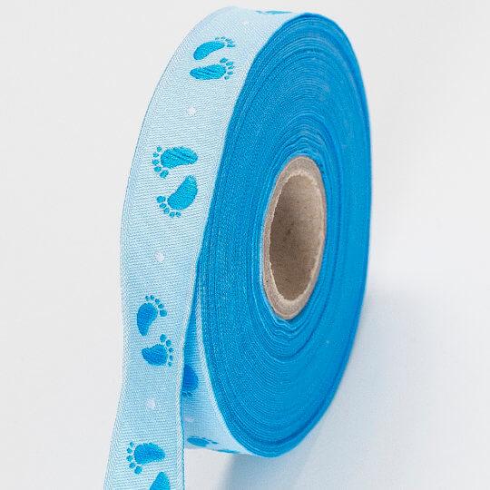 Fantastic Mavi Bebe Ayak İzi Baskılı Kurdele - 15685-V2