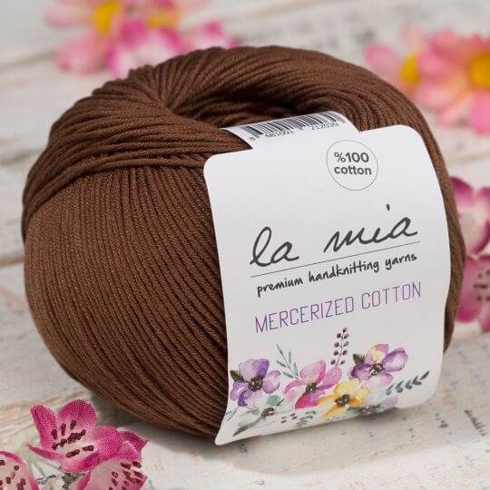 La Mia Mercerized Cotton Koyu Kahverengi El Örgü İpi - 228