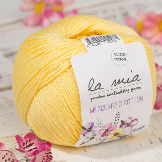 La Mia Mercerized Cotton Sarı El Örgü İpi - 177