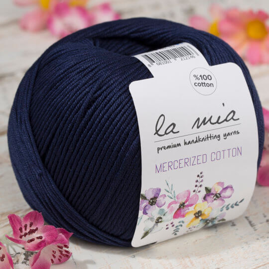 La Mia Mercerized Cotton Koyu Mavi El Örgü İpi - 117