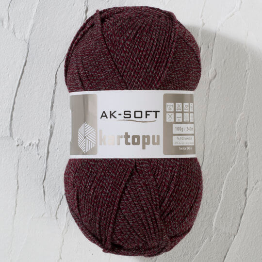 Kartopu Ak-Soft Kırçıllı Bordo El Örgü İpi - MU02036