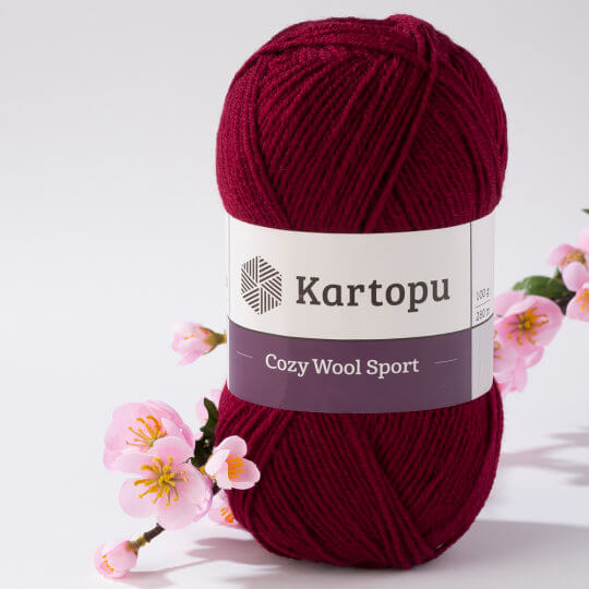 Kartopu Cozy Wool Sport Bordo El Örgü İpi - K110