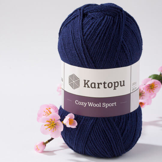 Kartopu Cozy Wool Sport Lacivert El Örgü İpi - K632
