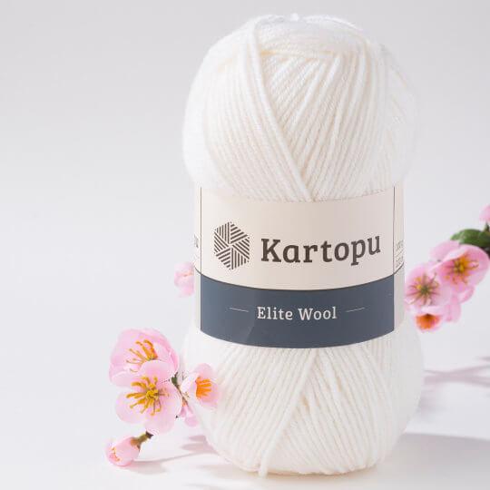 Kartopu Elite Wool Beyaz El Örgü İpi - K010