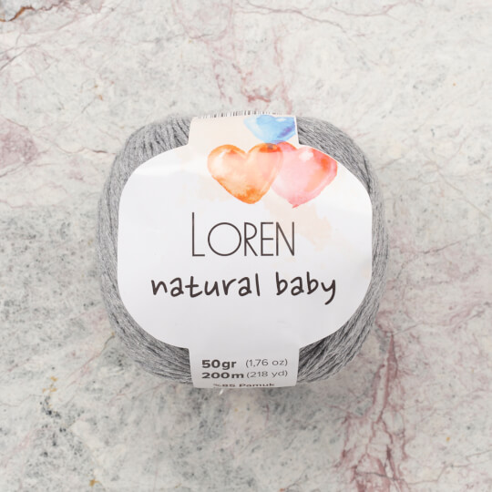 Loren Natural Baby Açık Gri El Örgü İpi - R079