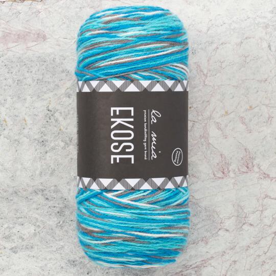 La Mia Ekose Mavi Gri El Örgü İpi - LE003