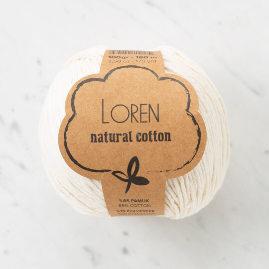 Loren Natural Cotton Krem El Örgü İpi - R083