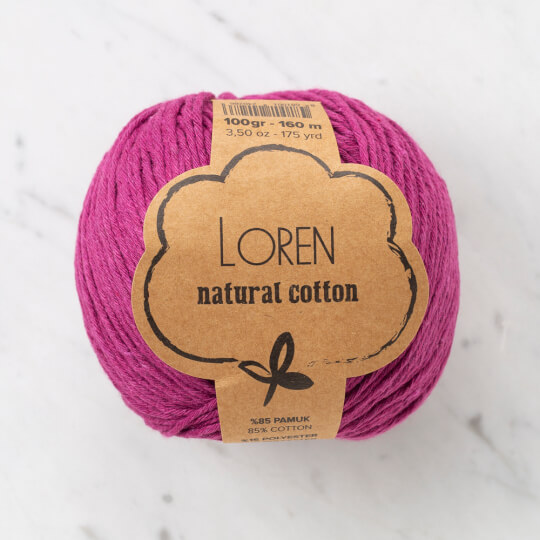Loren Natural Cotton Mor El Örgü İpi - R098