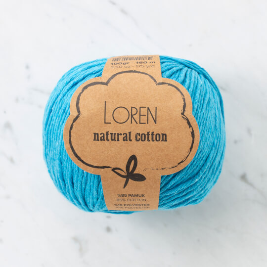 Loren Natural Cotton Turkuaz El Örgü İpi - R091
