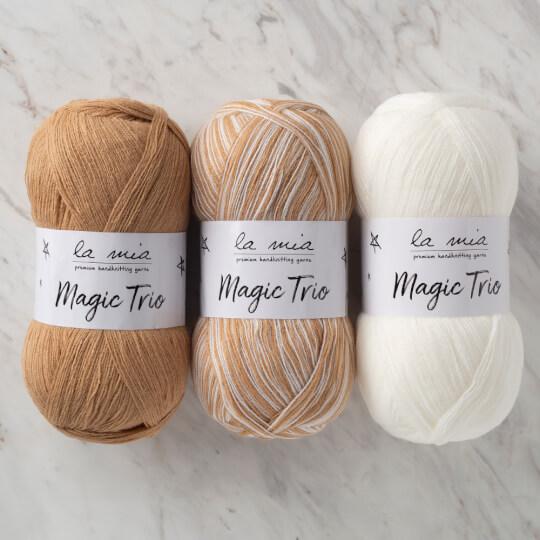 La Mia Magic Trio 3'lü Paket Beyaz-Kahve El Örgü İpliği - LM008