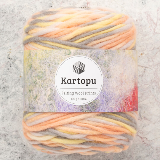 Kartopu Felting Wool Prints Ebruli El Örgü İpi - D3151