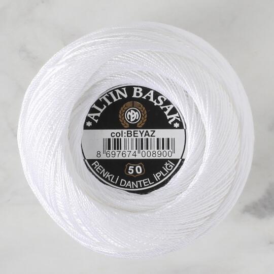 Altınbaşak No: 50 Beyaz Klasik Renkli Dantel İpliği - BEYAZ - 26