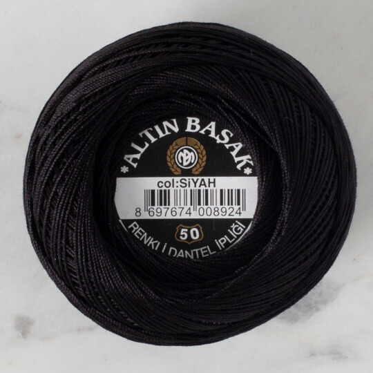 Altınbaşak No: 50 Siyah Klasik Renkli Dantel İpliği - SİYAH - 26