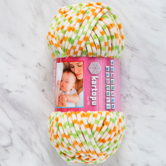 Kartopu Yumurcak Benekli Ebruli Kadife Bebe Yünü - YMR0014