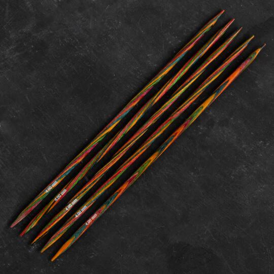 KnitPro Symfonie 4 mm 20 cm Ahşap 5'li Çorap Şişi - 20109