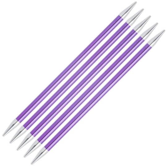 Knitpro Zing 5'li 7 mm 20 cm Mor Metal Çorap Şişi - 47045