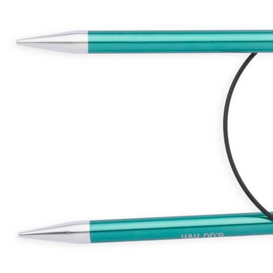 Knitpro Zing 8 mm 60 cm Yeşil Metal Misinalı Şiş - 47106