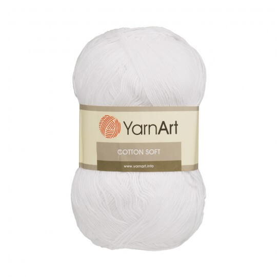 YarnArt Cotton Soft Beyaz El Örgü İpi - 62