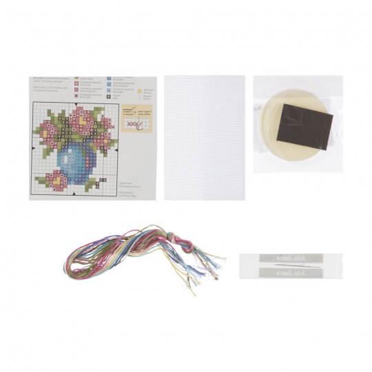 RTO Baltic 5,5 cm Çapında Vazoda Çiçek Desenli Magnet Etamin Kiti - MGH06