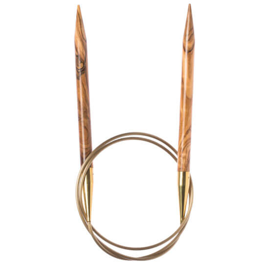 Addi Olive Wood 12 mm 60 cm Zeytin Ağacı Misinalı Örgü Şişi - 575-7