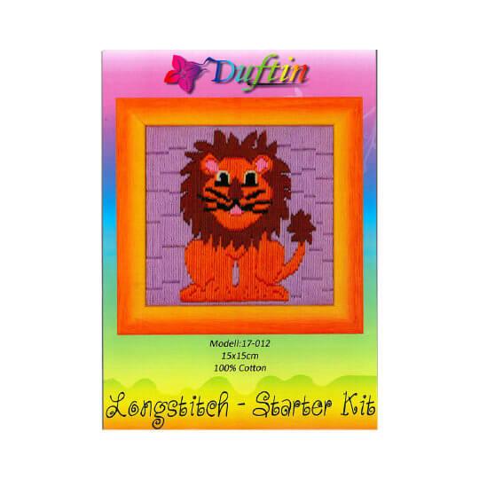 Duftin 15x15 cm Aslan Desenli Uzun İşleme Nakış Kiti