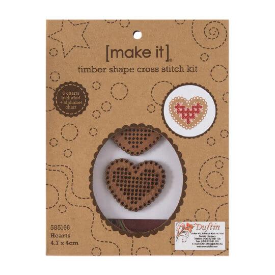 Duftin Make it 4x4,7 cm Kalp Şeklinde Ahşap Etamin Kiti - 585166