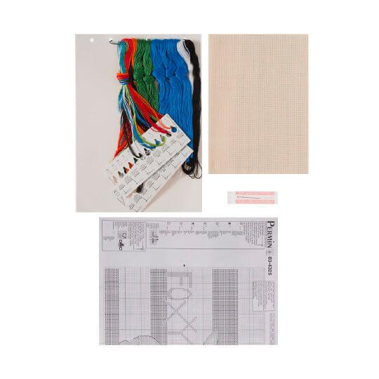 Permin 40x35 cm Yeşil Mavi Tilki Desenli Yastık Etamin Kiti - 834325