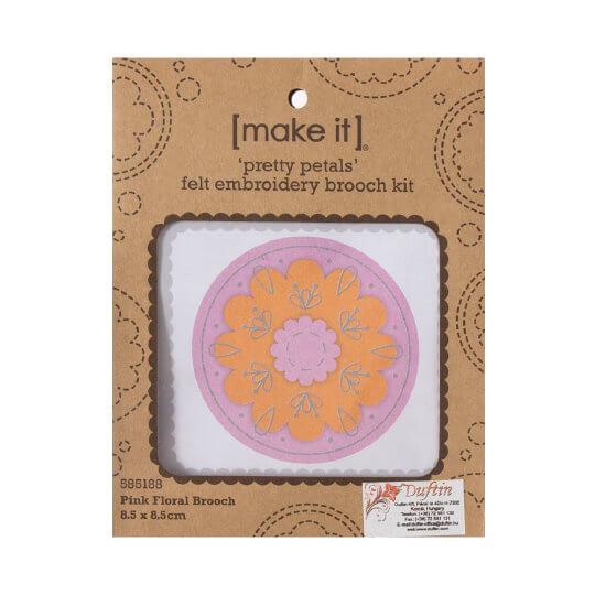 Duftin Make it 8,5x8,5 cm Pembe Broş Keçe Nakışı Kiti - 585188