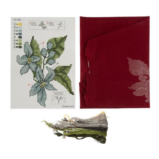 Duftin 38x42 Cm Çiçek Desenli Bordo Bez Çanta Etamin Kiti - 10754-aa0000