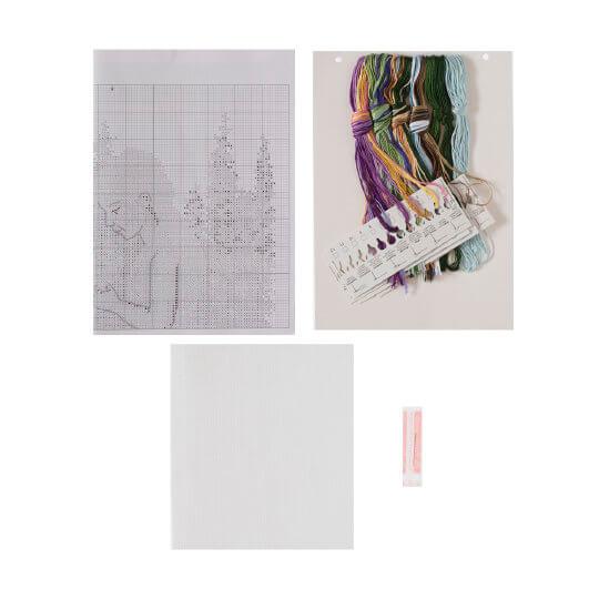 Permin 45x35 cm Kız Çocuğu ve Köpek Desenli Etamin Kiti - 94366