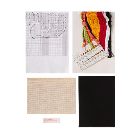 Permin 40x35 cm Kırmızı Sarı Tilki Desenli Yastık Etamin Kiti - 834324