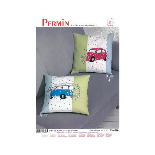 Permin 40x40 Pembe Vosvos Desenli Yastık Etamin Kiti - 834326