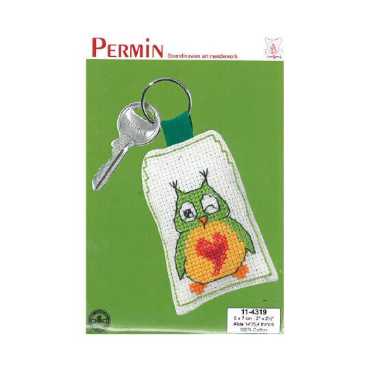 Permin 5x7 cm Yeşil Baykuş Desenli Anahtarlık Etamin Kiti - 114319