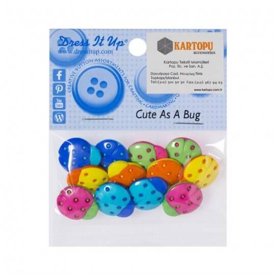 Dress It Up Renkli Uğurböceği Dekoratif Düğme - 5835