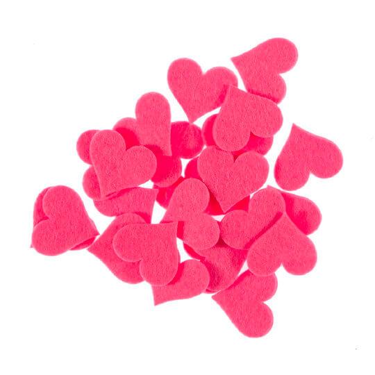 La Mia 3.5x4 cm 25'li Neon Pembe Büyük Boy Kalp Keçe Motifler FS309-M26